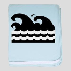 WAVES [black&white] baby blanket